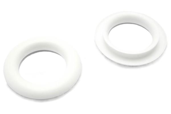 Finger ring eyelets, made of plastic, white