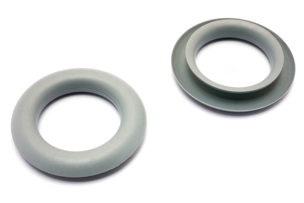 Finger ring eyelets, made of plastic, grey