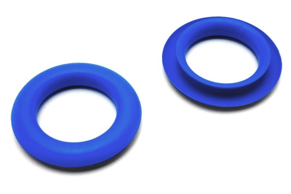 Finger ring eyelets, made of plastic, blue