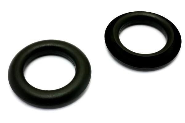 Finger ring eyelets, made of plastic, black