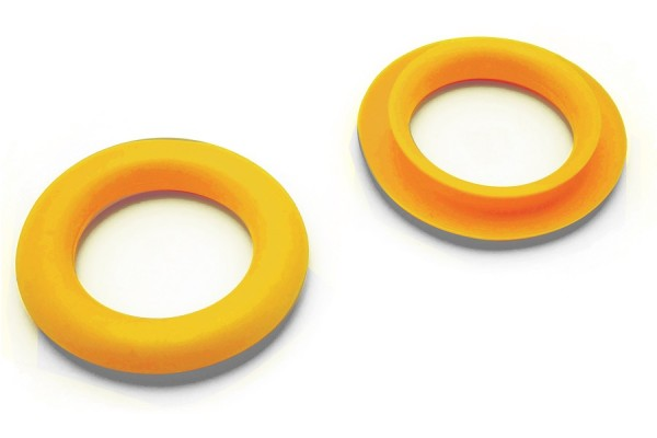 Finger ring eyelets, made of plastic, yellow