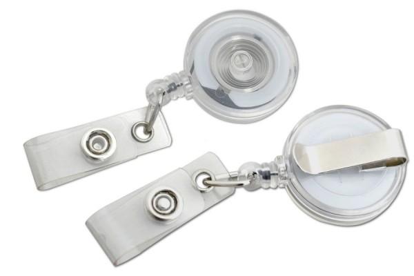 Ausweisjojos mit Gürtelclip, Kunststofflasche, transparent