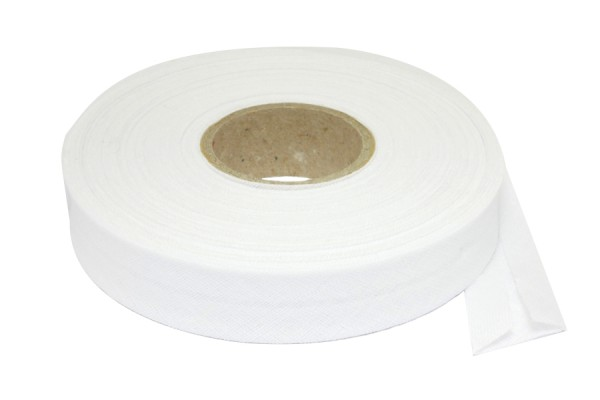 Bias binding tape, 20 m on a spool, white