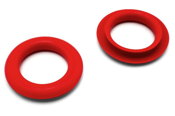 Finger ring eyelets, made of plastic, red