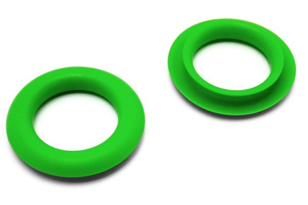 Finger ring eyelets, made of plastic, green